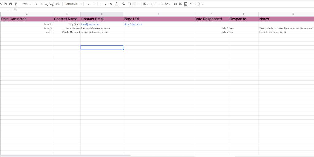 Outreach Log Spreadsheet