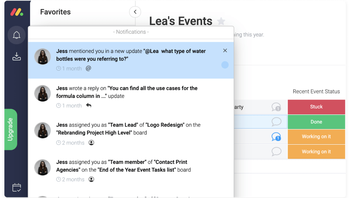 notifications to team members in monday.com