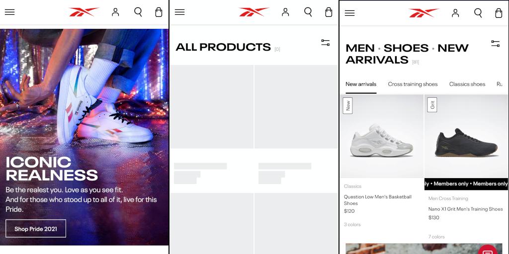 Rebok mobile store screenshots