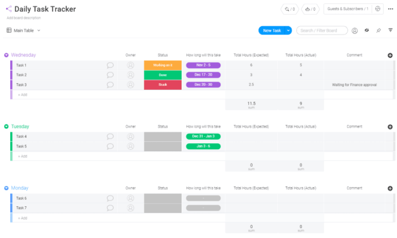 daily task tracker template from monday.com