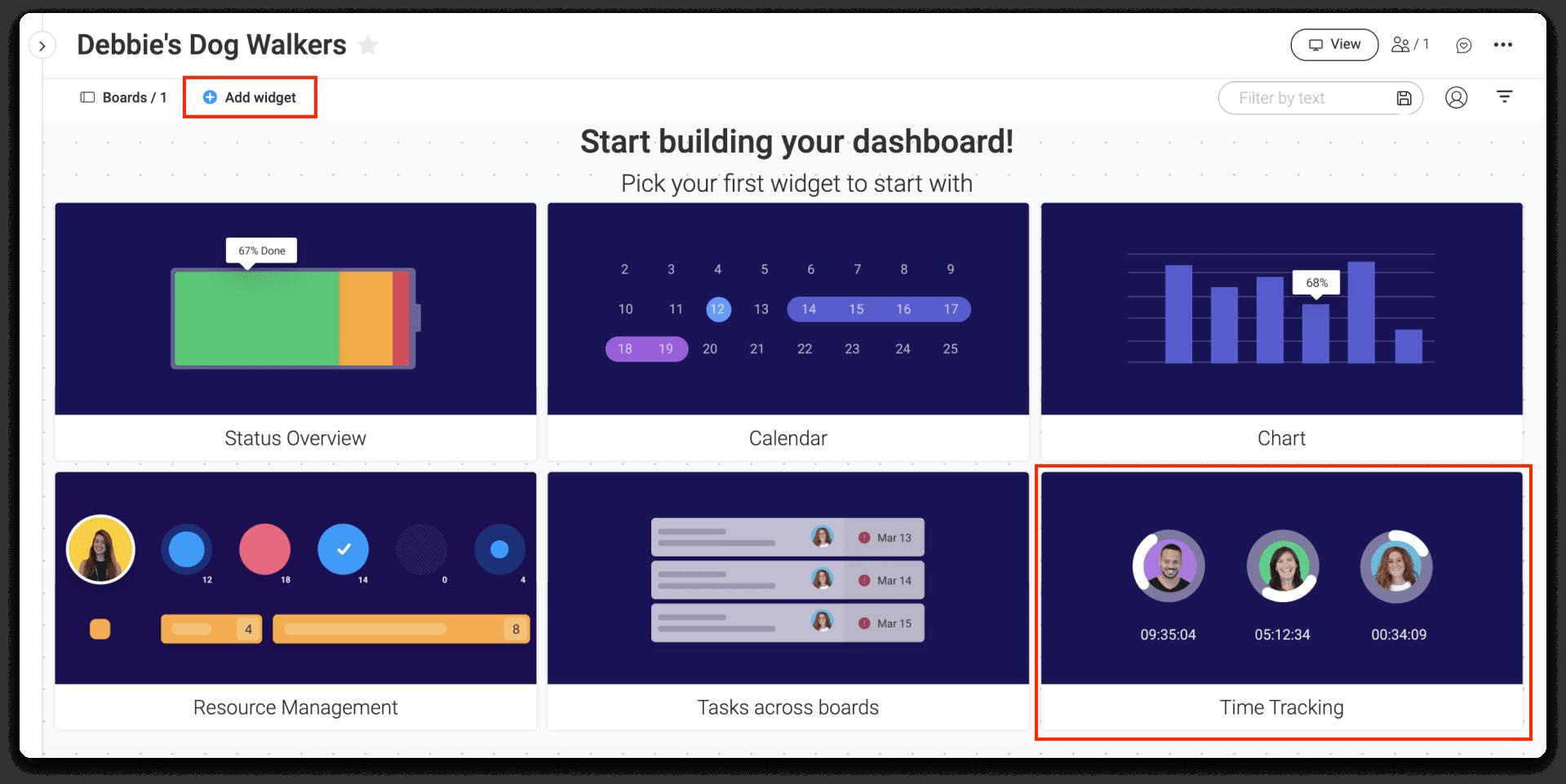 screenshot of time-tracking dashboard