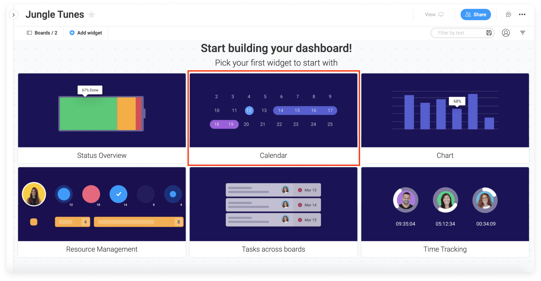monday.com's platform allows users to create a Calendar Widget in their projects