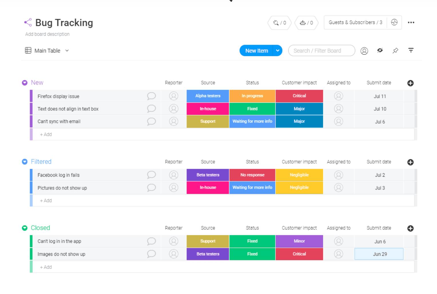 monday.com bug tracking template