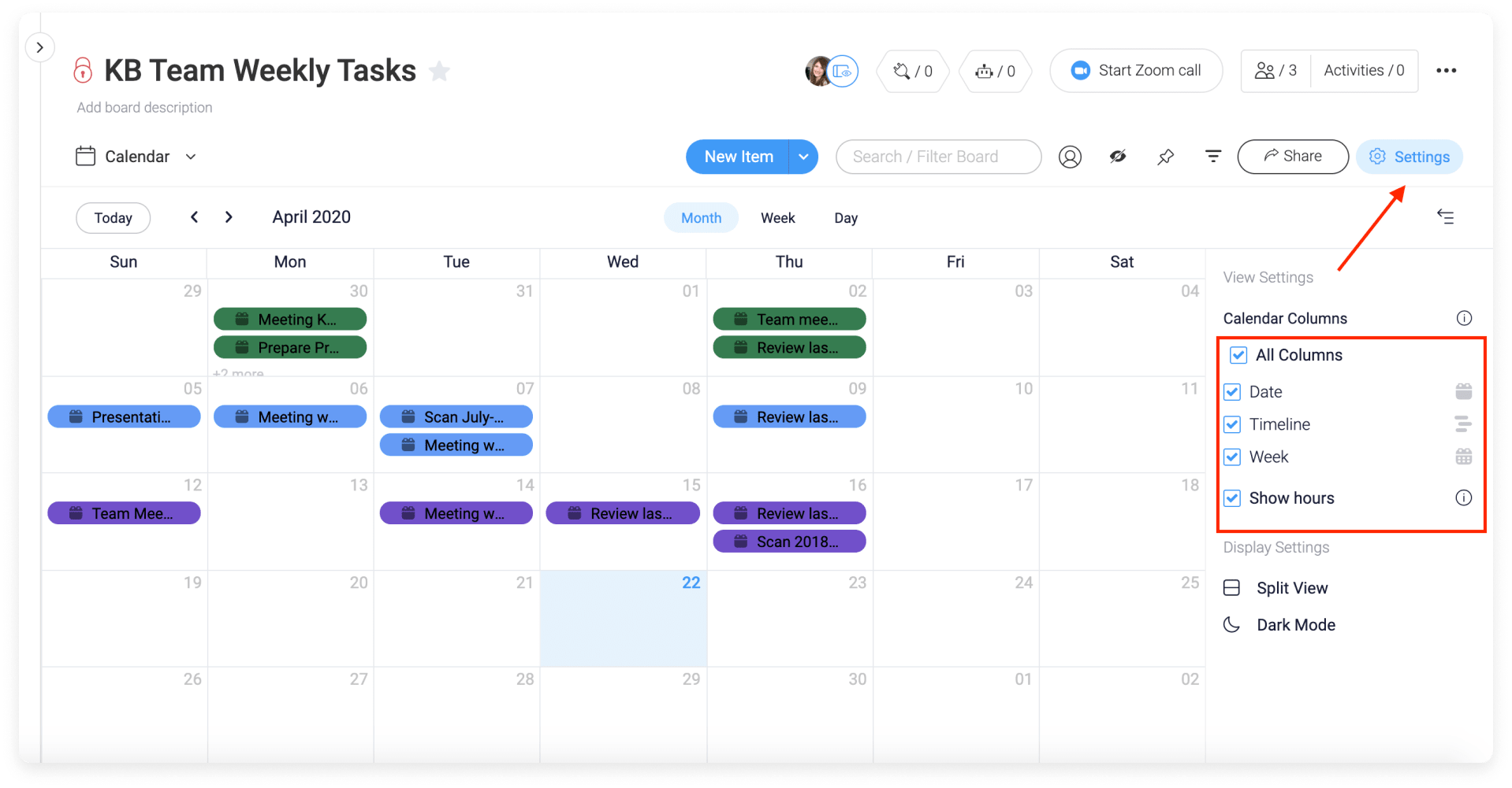 Users can filter the display of their calendar with monday.com