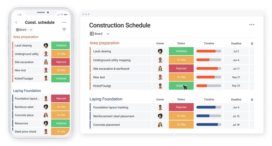 screenshot showing a construction schedule built in our monday.com template