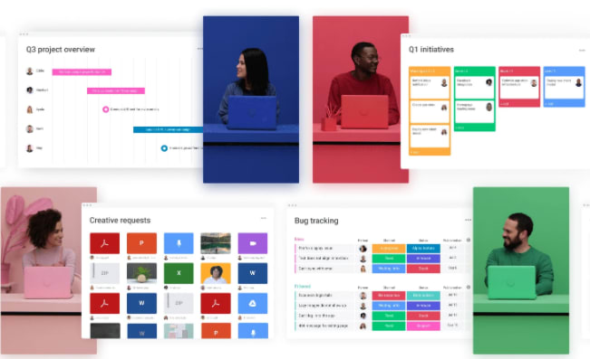 monday.com dashboard showing workflow overview for different teams
