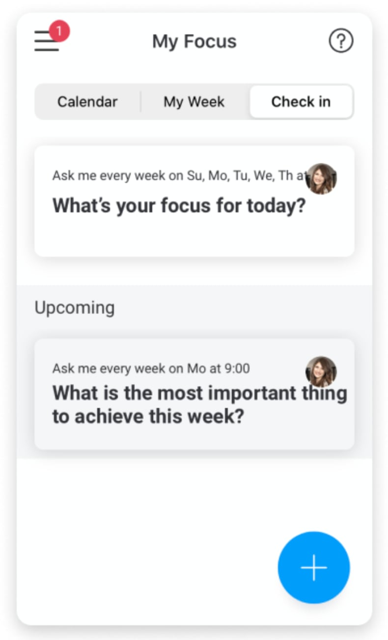 monday.com my focus check-in