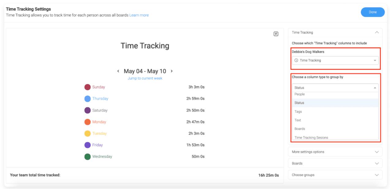 monday.com time tracking widget