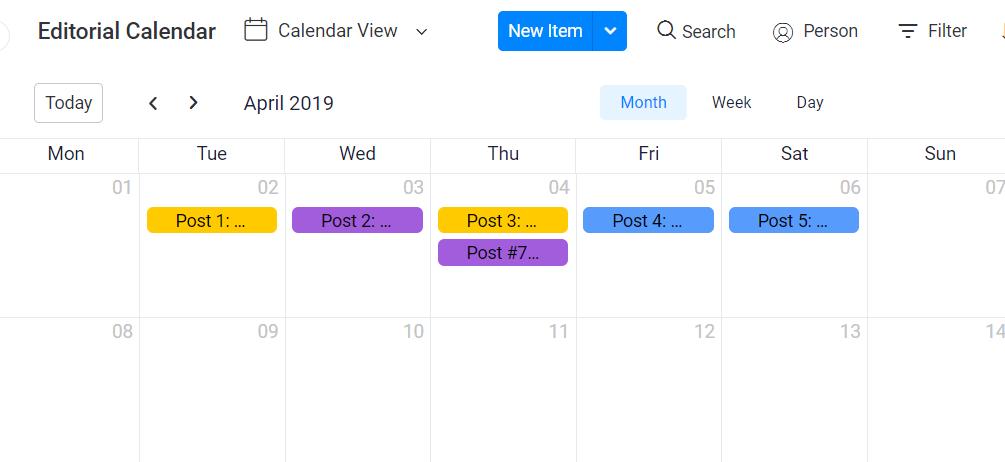 monday.com editorial calendar template