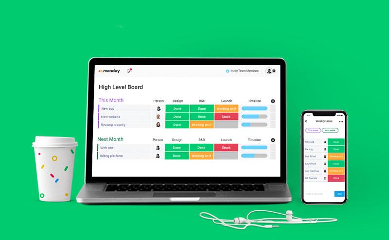 monday.com desktop and mobile apps