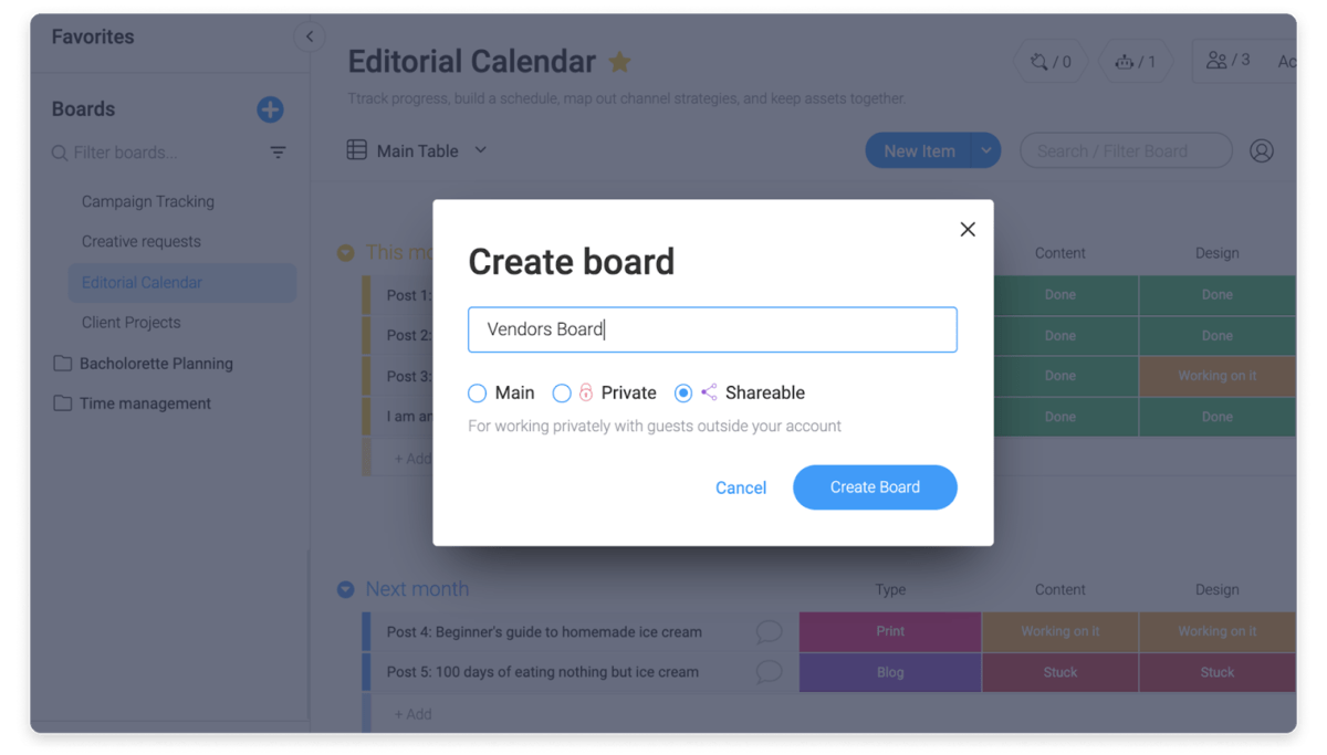 Image of user creating a shareable board on monday.com