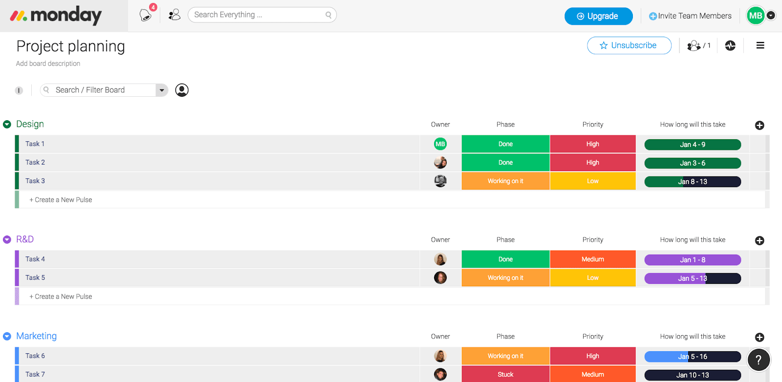 Example of monday.com's project planning template
