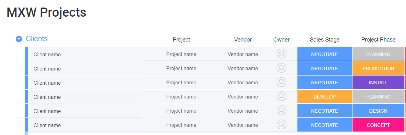 monday.com sales pipeline template with color coding