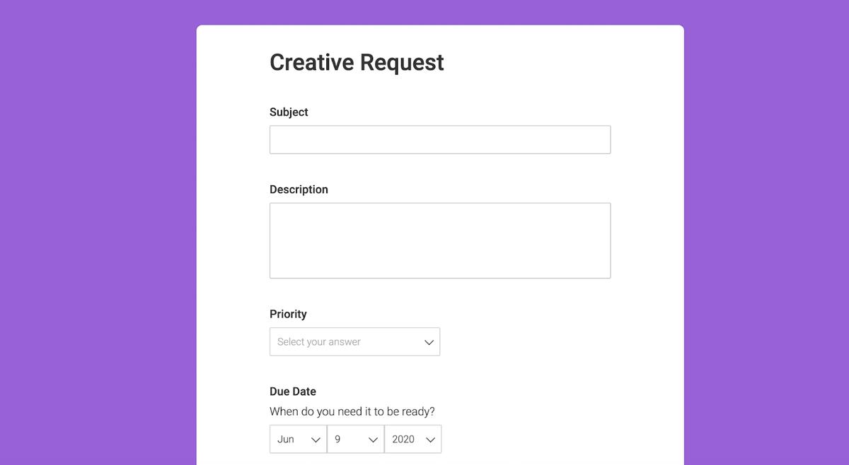 Screenshot of monday.com's creative request form