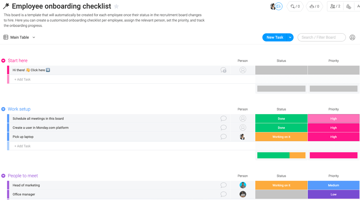 Employee onboarding checklist in monday.com