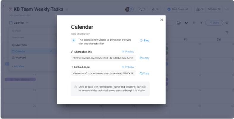 how to share a calendar in monday.com