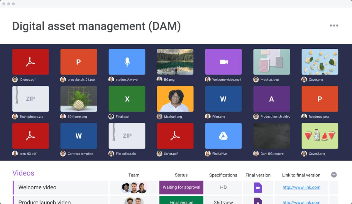 monday.com digital asset management template
