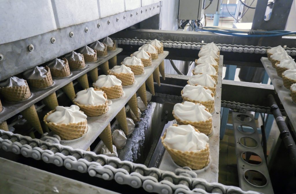 The conveyor automatic lines for the production of ice cream.
