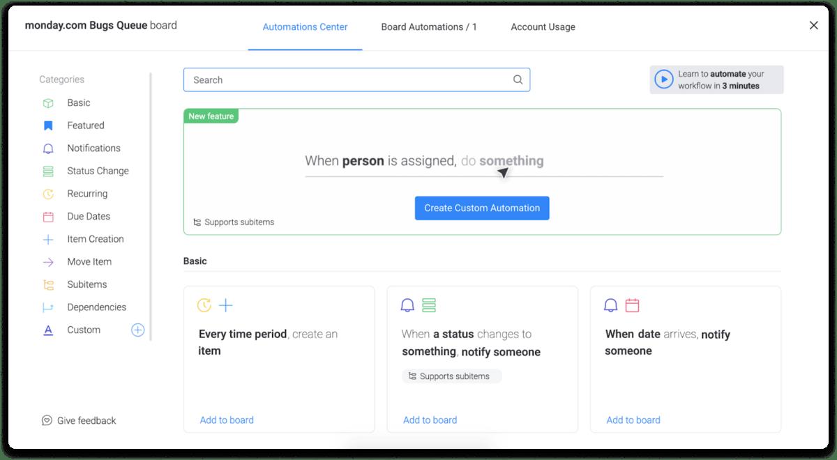 monday.com's automation center screenshot