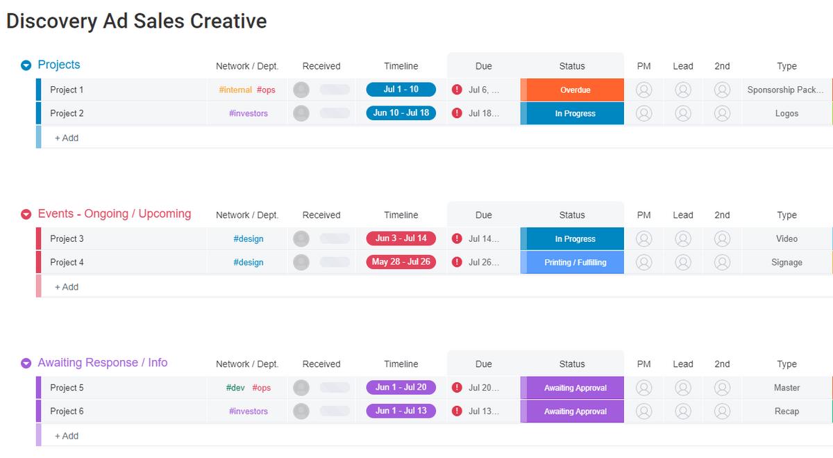 monday.com creative project management