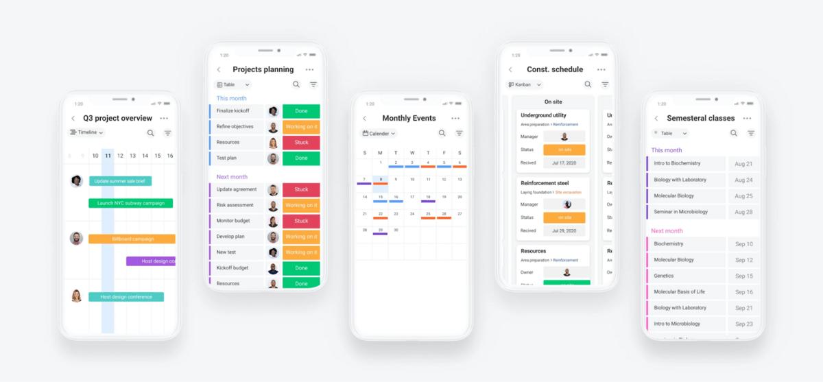 monday.com mobile app UI