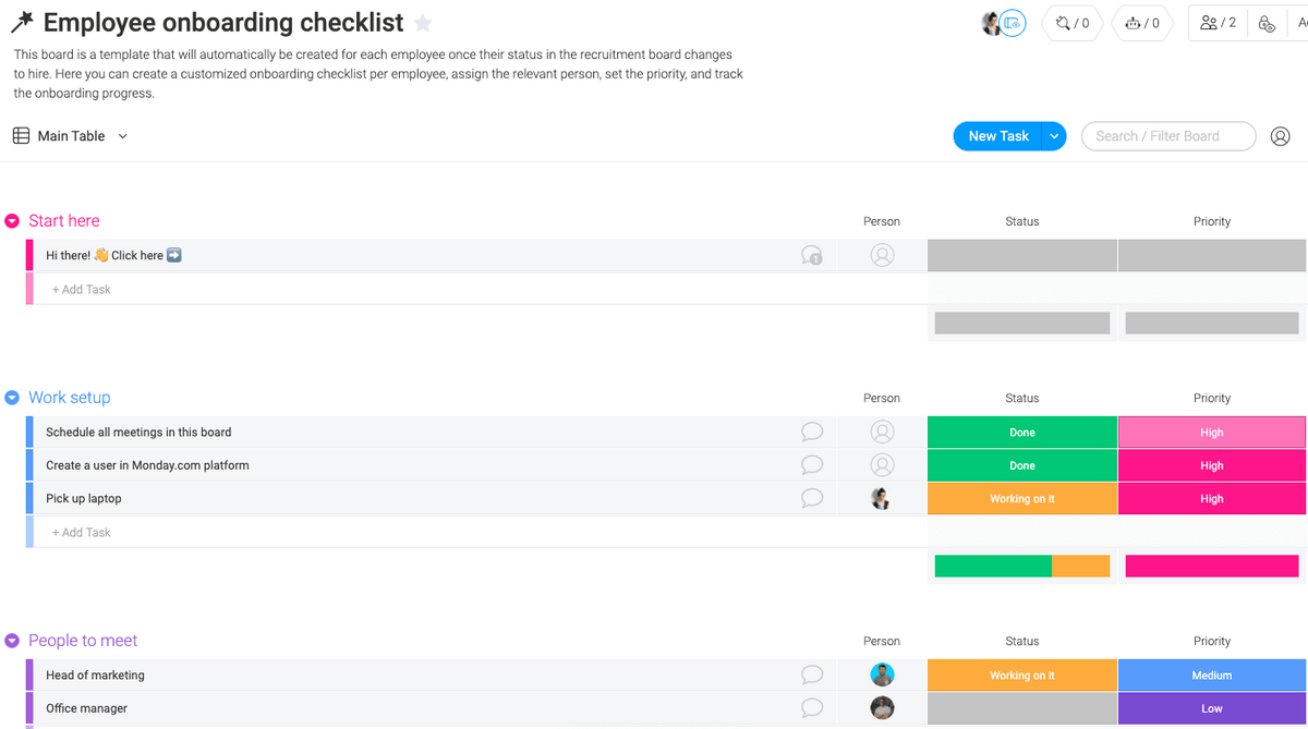 Employee onboarding checklist template in monday.com