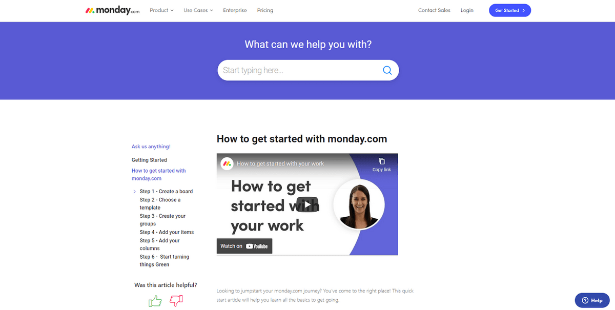 monday.com tutorial page