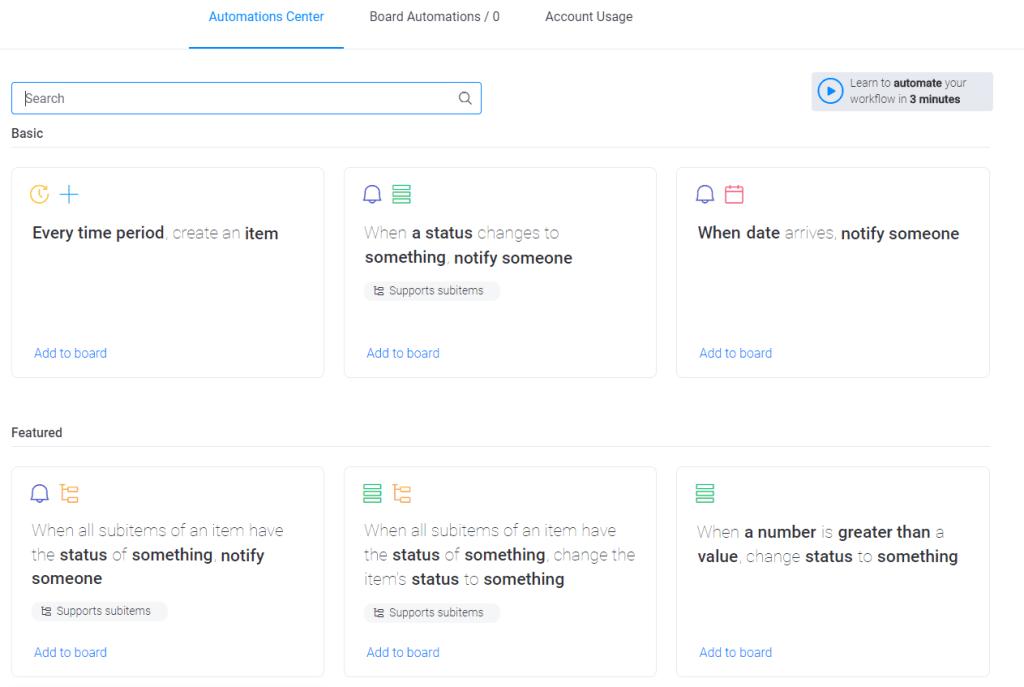 monday automations menu