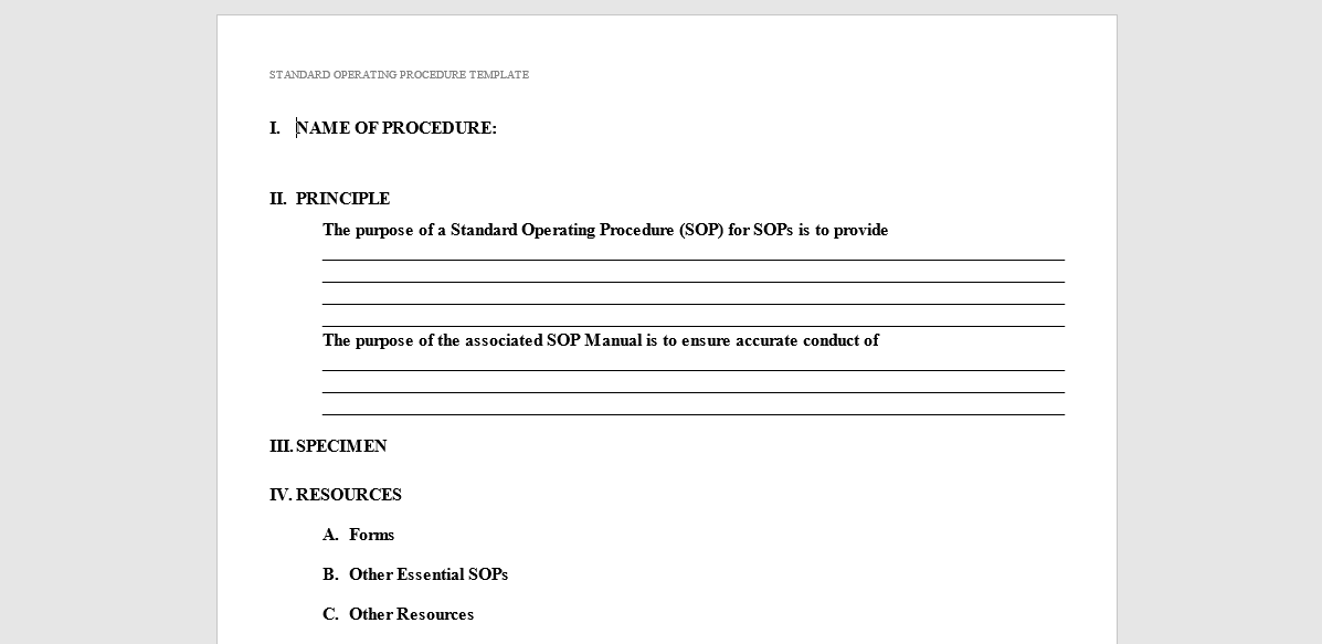 example sop standard operating procedure templates