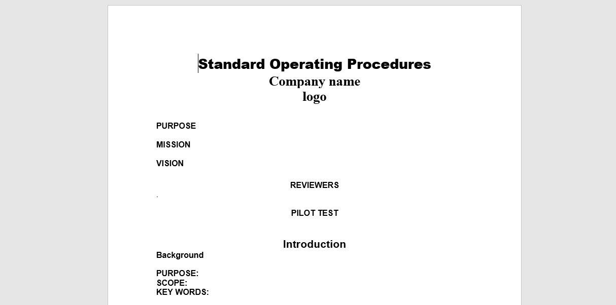 sop template example