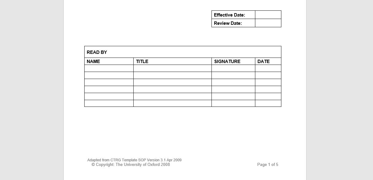 sop template checklist