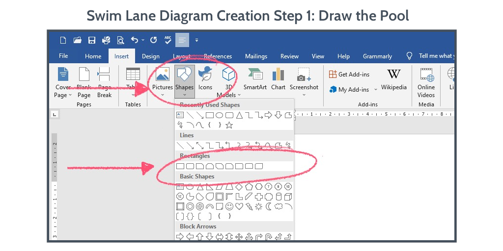 swim-lane-diagram-word-step-1