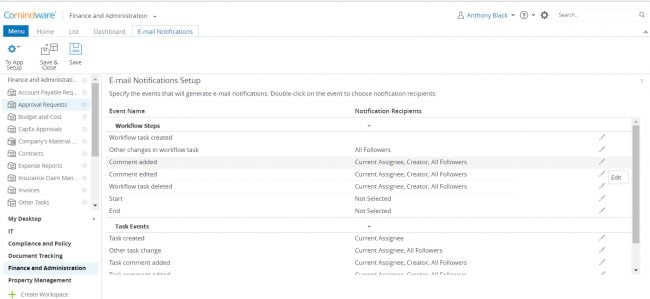 Notification settings in workflow automation software