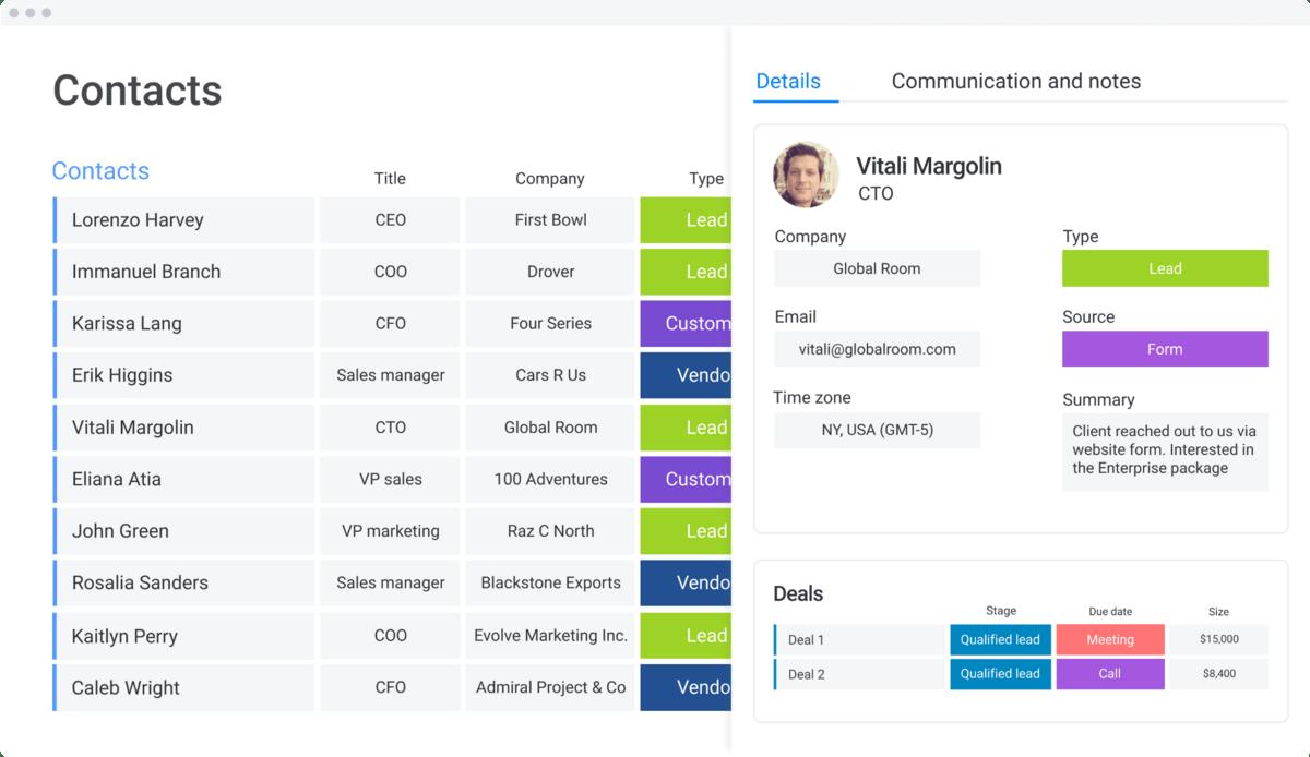 monday.com contact management template with vendor contact info