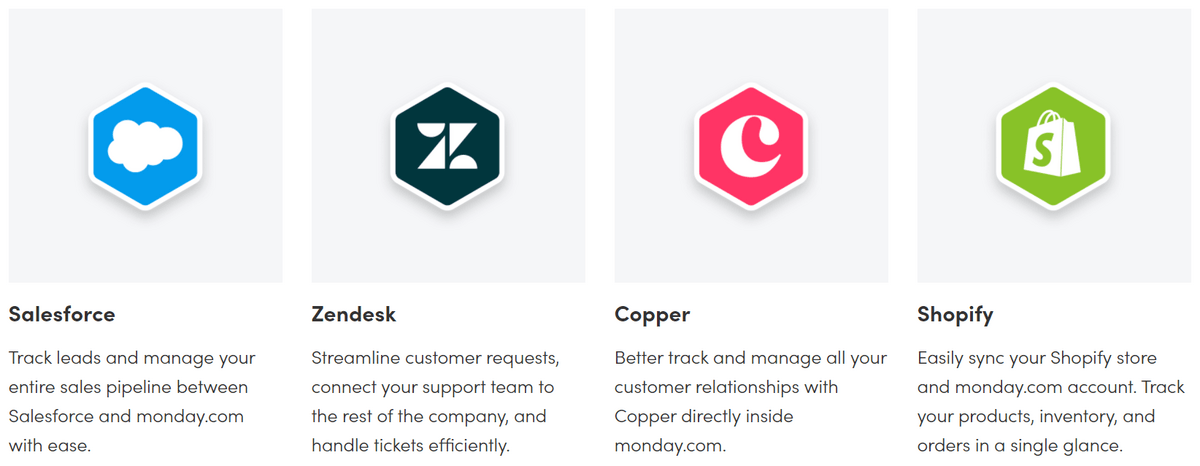monday.com integrations to Salesforce, Zendesk, Copper, and Shopify