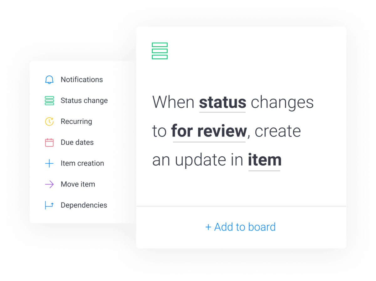 """monday.com automation recipe that says """"when status changes to for review, create an update in item"""""""