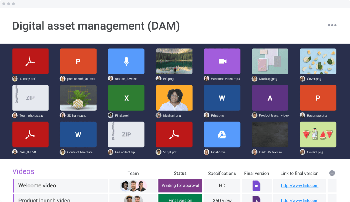 monday.com's digital asset management template screenshot