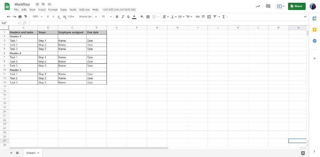 Workflow in Excel