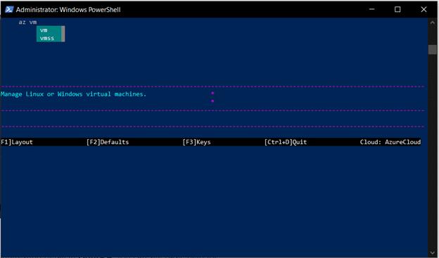 Azure CLI Interactive Mode