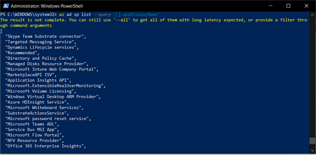Azure CLI Querying