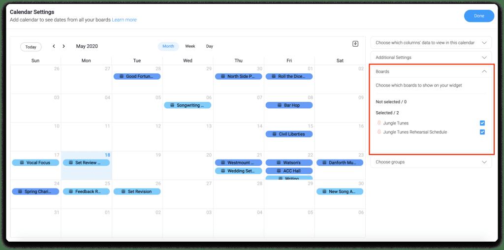 monday.com calendar widget