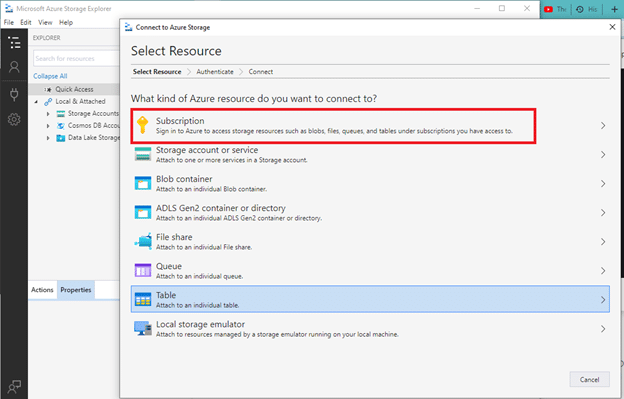 Azure Storage dialog box