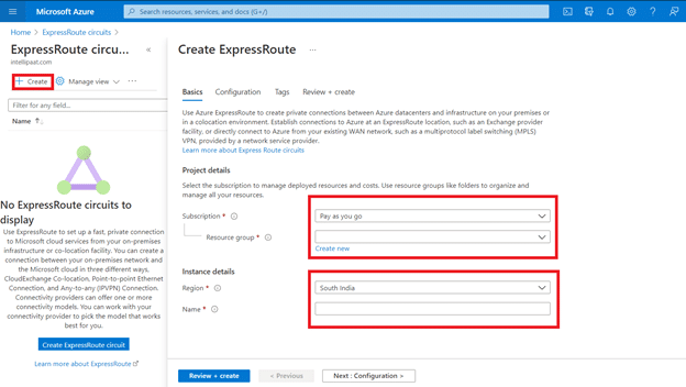 Create ExpressRoute and enter details