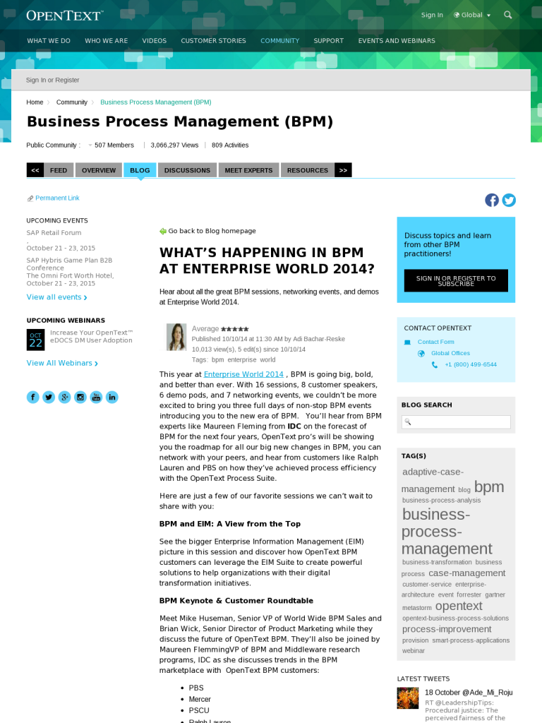 What's Happening in BPM at Enterprise World 2014? - BPI