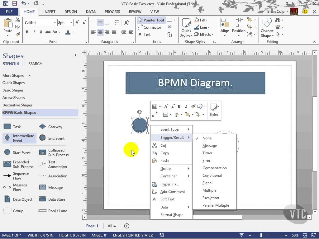 Comfortable bpmn visio template photos example resume ideas microsoft visio 2013 tutorial bpmn diagrams vtc bpi the ccuart Gallery