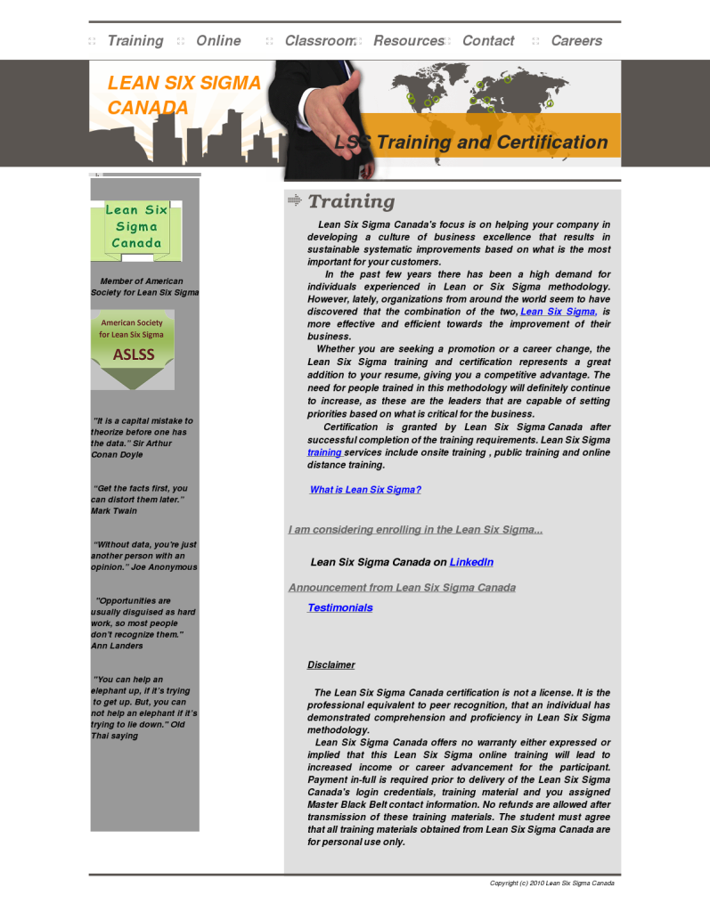 Training Lean Six Sigma Canada Certification Bpi The