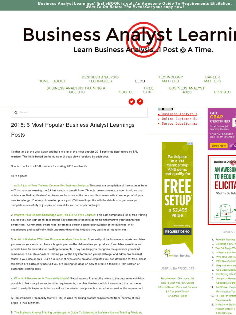 2015 6 Most Popular Business Analyst Learnings Posts Bpi The