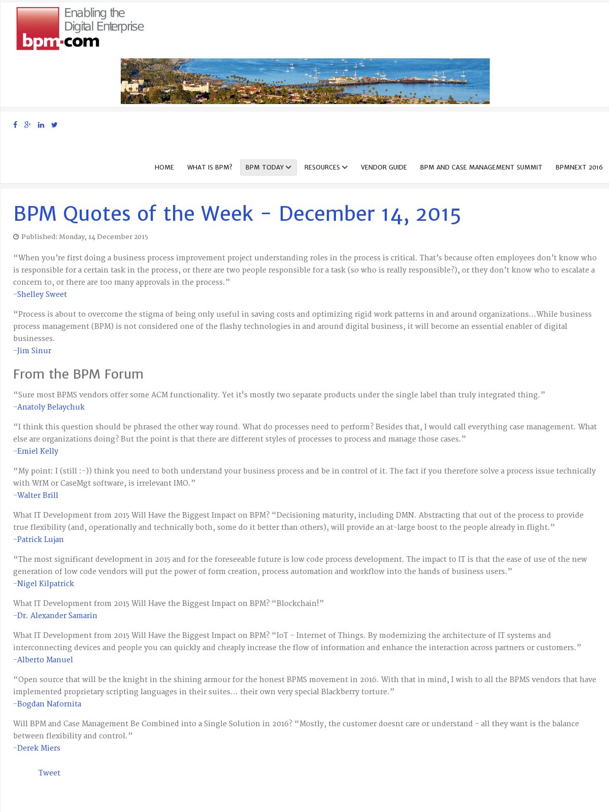 BPM Quotes of the Week - December 14, 2015 - BPI - The