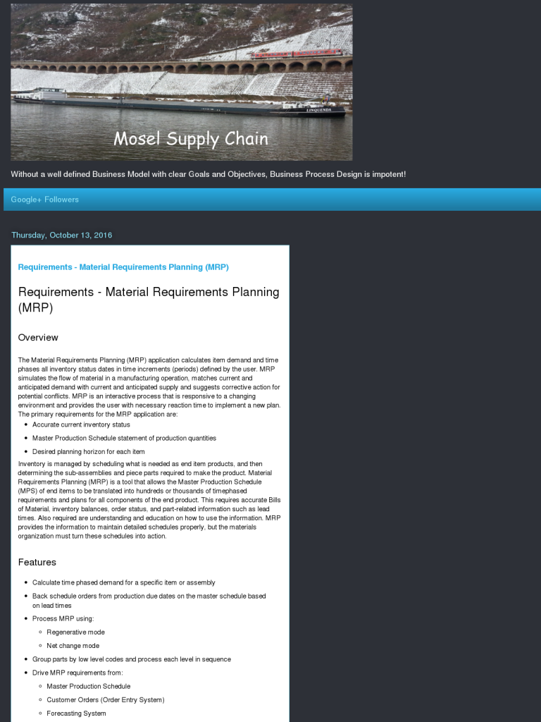 Requirements - Material Requirements Planning (MRP) - BPI