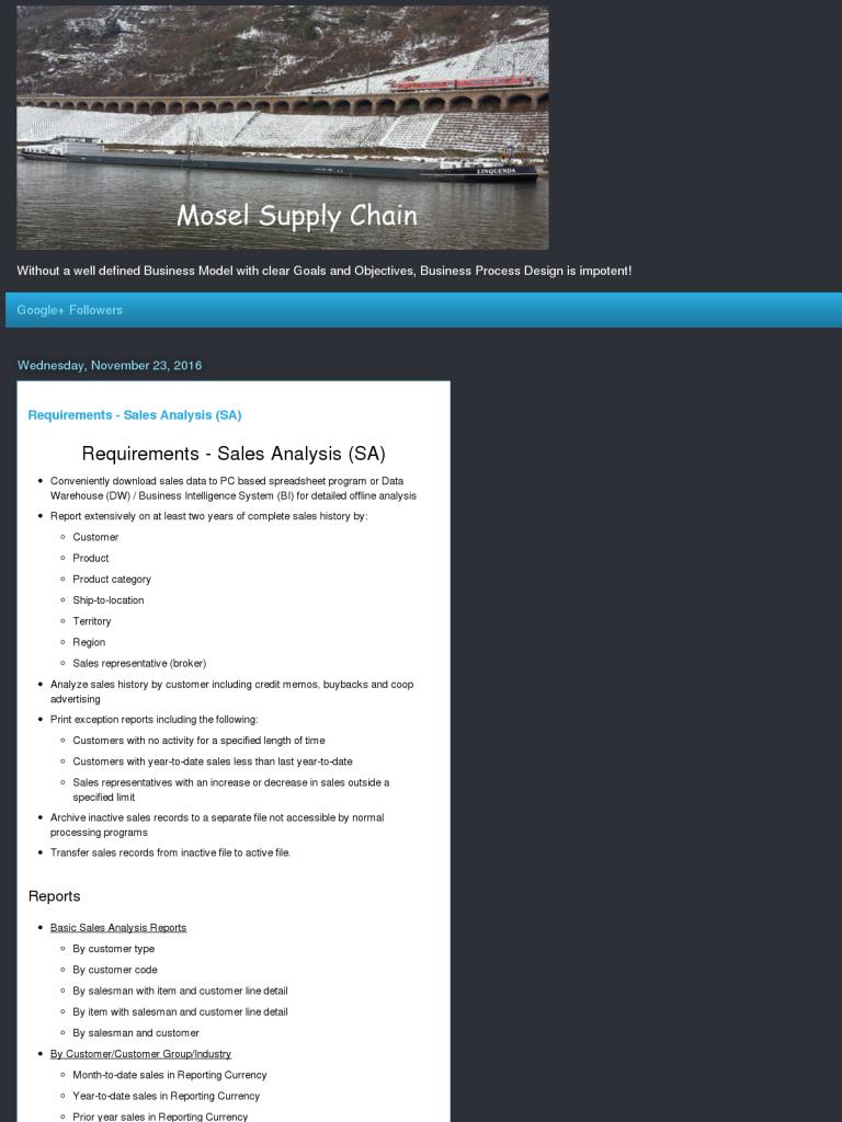 Requirements - Sales Analysis (SA) - BPI - The destination